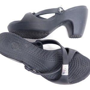 CROCS Black Cyprus High Heel Slip Sandals Shoe Sz8